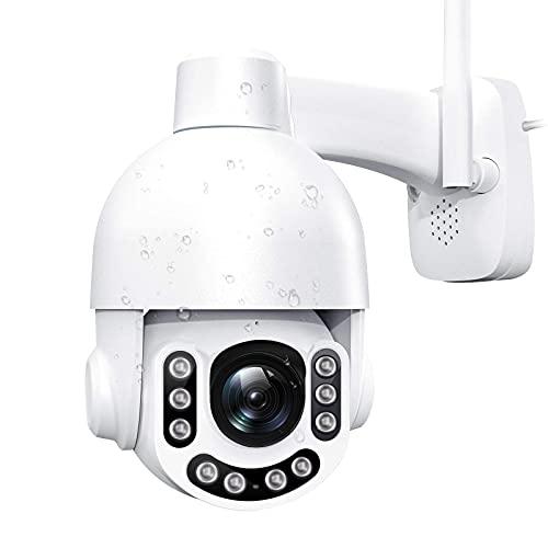 Cámara de Vigilancia WiFi Exterior - 2K 3MP Súper HD Cámara IP 360° Pan 160° Tilt,Zoom 8X Audio Bidireccional, Visión Nocturna