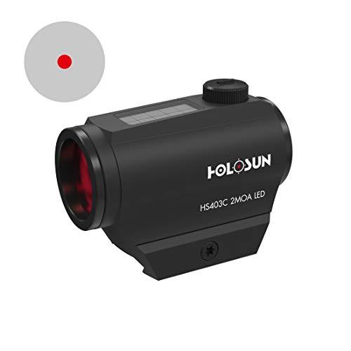 Holosun HS403C Microdot Rotpunkt Visier mit 2MOA Punkt Absehen und Solarzelle, schwarz, Picatinny/Weaver Schiene, für die Jagd, Sportschießen und Softair, Tactical Micro red… - 70127386