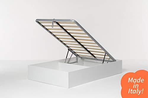Cangù, Hi Box Letto Contenitore, Bianco, 120 x 190 cm, derivato del legno