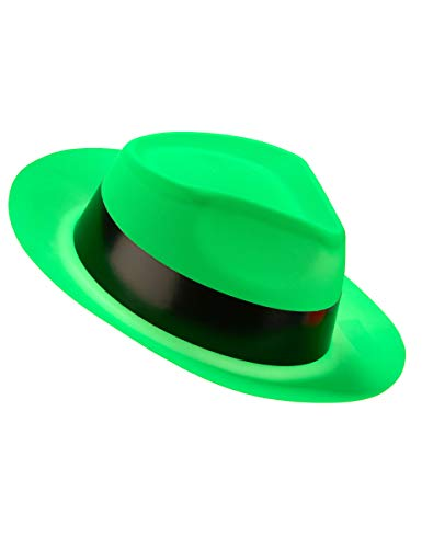 DEGUISE TOI - Chapeau Gangster Vert Fluo Adulte - Taille Unique