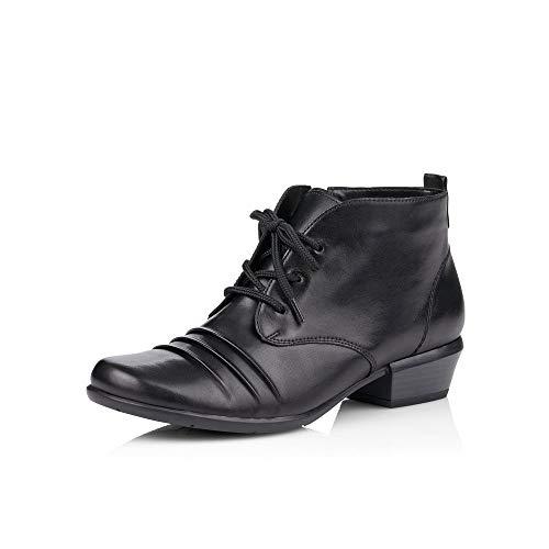 Remonte Damen Stiefeletten R8372, Frauen Schnürstiefelette, Stiefel Chukka Boot halbstiefel schnürboots Bootie,schwarz/schwarz / 01,39 EU / 6 UK