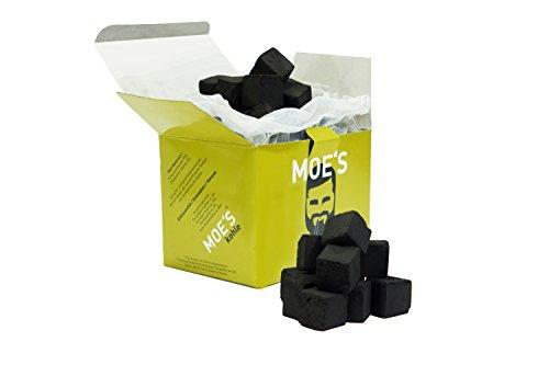 MOE'S ® Carbón para shisha, 1kg, briquetas de carbón natural de cáscara de coco