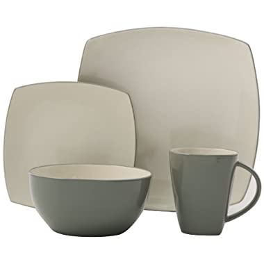 Gibson Soho Lounge 16-Piece Square Reactive Glaze Dinnerware Set, Celadon