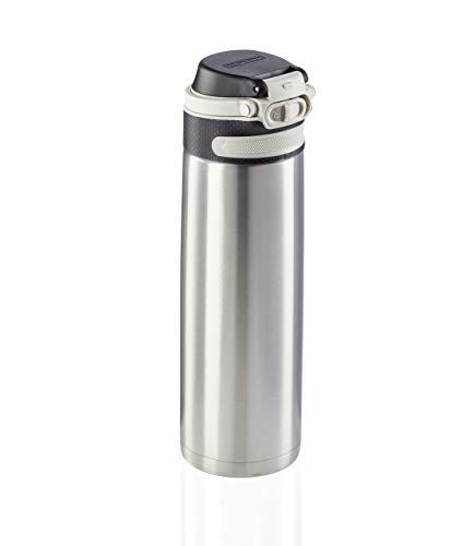 Leifheit Botella térmica Flip (600 ml) con tapón de rosca, vaso hermético con bloqueo adicional contra fugas, termo portátil, uso con una mano, plateado
