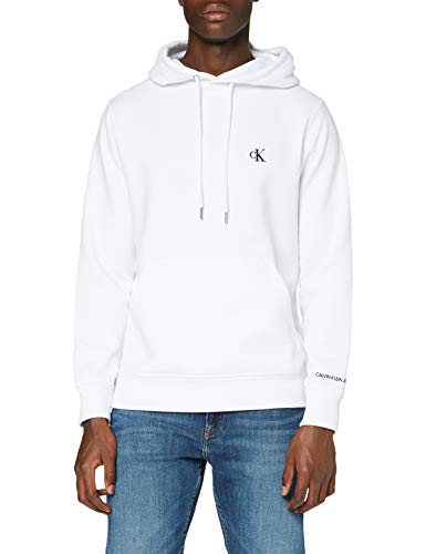 Calvin Klein Jeans CK Essential Hoodie Sweater, White, S Homme