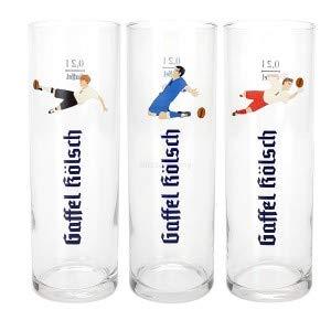 Gaffel Kölsch Bier Glas Gläser Set Fussball WM Edition - 3x 0,2l geeicht