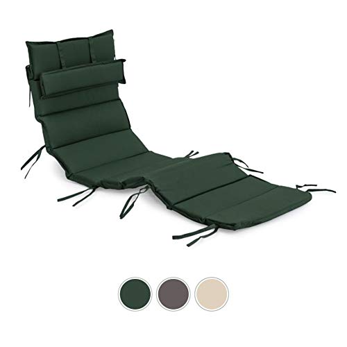Gardenista Sun Lounger Cushion Pad | Detachable Head Pillow | For Curved Sun Lounger | Water Resistant and Breathable Easy Clean Fabric for Outdoors | Ultra Comfy and Soft (Green)