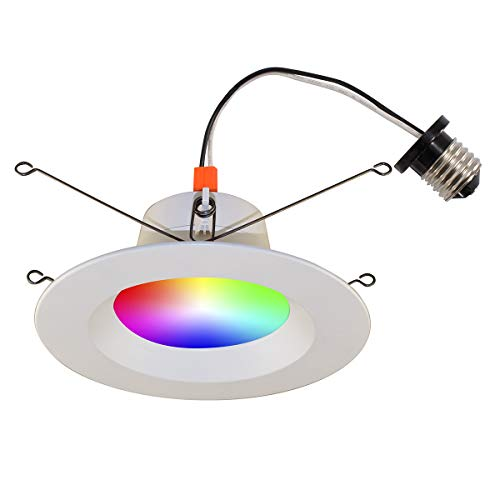 Bazz CON6RGBTNWWF Slim Smart Home Wi-Fi RGB LED Recessed Lighting Conversion Kit, Dimmable, Tunable, Indoor/Outdoor, Alexa and Google Assistant Compatible, 6-in, White