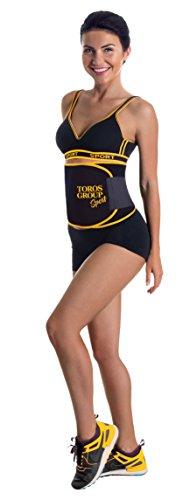 TOROS GROUP Cinturón tonificador de neopreno Ab; cinturón adelgazante;  efecto sauna ; quemadora de grasa abdominal; negro y amarillo Large