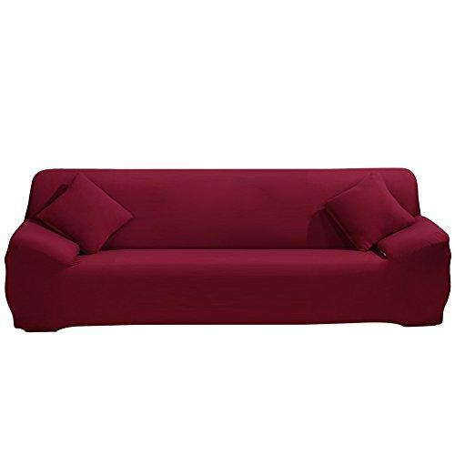 SHANNA - Funda elástica para sillones y sofás de 1, 2, 3 o 4plazas, cubierta antideslizante en tejido elástico extensible, protector, tela, rojo vino, 4-Seater Chair + 1pcs Free Pillowcase