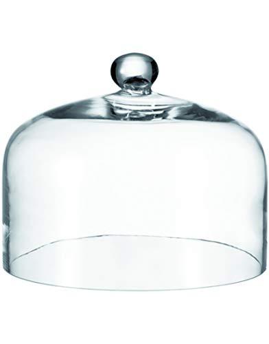 Leonardo Cupola 042619 - Campana con bottone, altezza 22 cm, diametro 29 cm, in vetro trasparente fatto a mano
