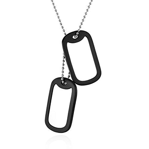 JewelryWe Schmuck Dog Tag Halskette mit kostenloser Gravur, 2 poliert original Militärischen Erkennungsmarken Dog Tags Anhänger mit 60cm Kette für Herren, Edelstahl Gummi Kautschuk, Schwarz Silber