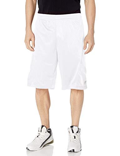 Southpole Men's Basic Basketball Mesh Shorts, White/White, Large