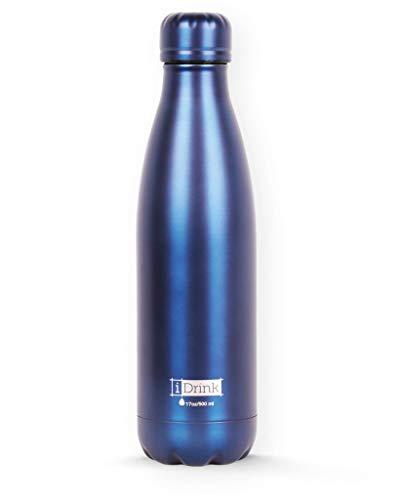 I-Drink - Botella térmica color azul mate de acero de doble pared de 500 ml sin fugas sin BPA