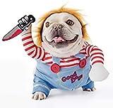 FayTun - Costume per cani in stile bambola assassina, vestito per cani per Halloween, regolabile, divertente, con parrucca, per carlino, feste, Natale (M)