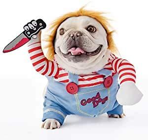FayTun Tödliche Puppe, Hundekostüm, Halloween-Kostüme für Hunde, verstellbar, Cosplay-Kostüm, lustig, tödlich, Puppe, Perücke, Mops, Party, Kleidung, Weihnachtskostüm (M)