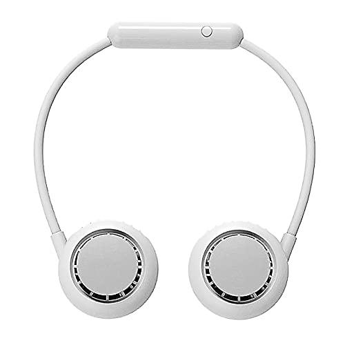 Ventilador De Cuello, Ventilador Portátil, Ventilador USB, Ventilador Personal Portátil Recargable, Ventilador USB De 3 Velocidades Con Cabezal Ajustable De 360 °, Para Senderismo, Dep(Color:blanco)