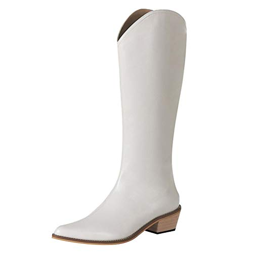 Wysokie buty na niskim obcasie, damski zamek błyskawiczny z boku w szpic Retro forMartin Boots, damskie kowbojki (Color : White, Size : 34 EU)