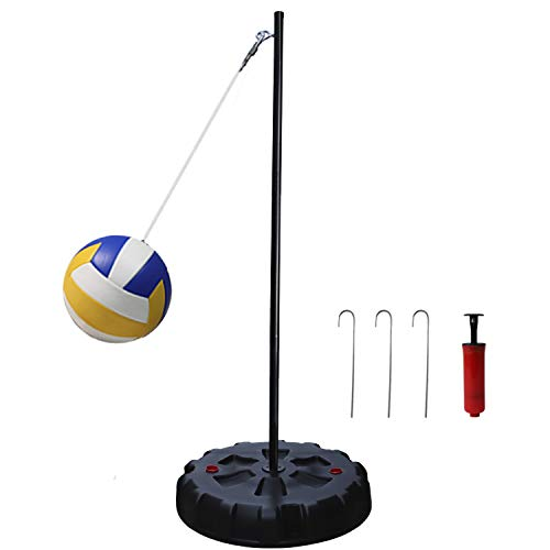 Zdgao Classic Tetherball Set with Base, Ball, Pump, Cord & Stakes Portable with Easy Assembly, Fun for The Park, Backyard for Kids and Adults