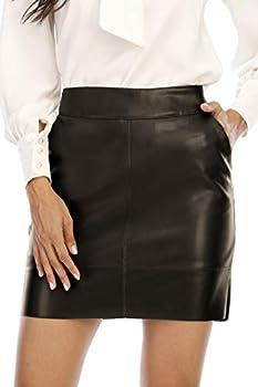 Fahsyee Women s Faux Leather Skirt Hip High Waisted Stretchy Zipper Mini A-Line PencilShort Plus Size L Black