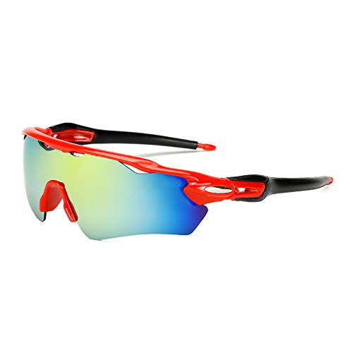 ZPL Cycling Glasses Polarised Sports Sunglasses Anti-UV PC Explosion-Proof Unisex HD Mirror Suitable for Travel And Cycling,red frame with black legs