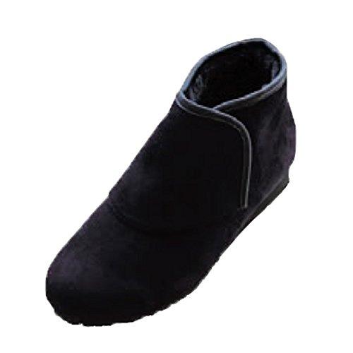 防寒ブーツ リシェス 防滑ソール ブラック 冬 女性用 婦人 高齢者 靴 ウォーキングシューズ 安心 補助 介護 敬老 贈り物/LL(24.5cm)