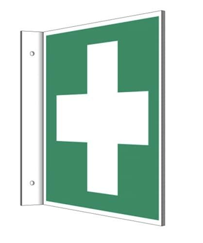 Fahnenschild Erste Hilfe Kreuz Kunststoffplatte 15x15cm nachleuchtend