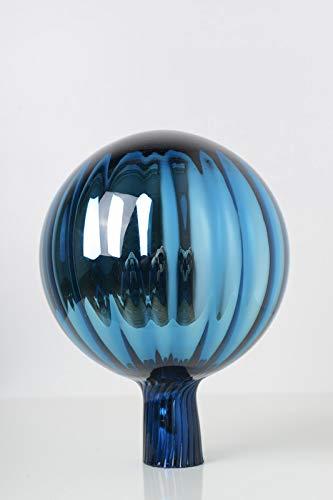Rosenkugel aus Glas für den Garten mit Stab – perfekte handgemachte Garten-Dekoration für Ihr Blumenbeetin, 18/12 cm mit einem Stab, Farbe: Türkis