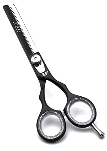 TRU BARBER - Tijera Barbero profesional para barbería y peluqueria 5.5 PULGADAS PULIR BLACK , Acero Japones inoxidable, filo dulce, navaja. Tijera de peluqueria y barberia profesional