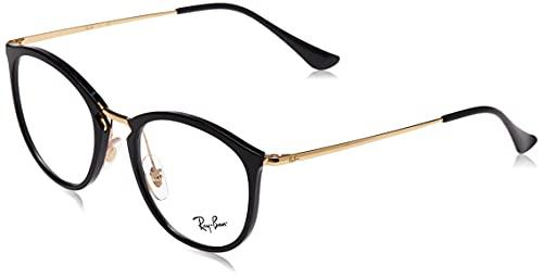 Ray-Ban RX7140 - Marcos cuadrados para anteojos, Shiny Black/Demo Lens, 49 mm