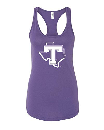 CreateMyTee | Tarleton T Logo Tank Top | TSU Texans Apparel Womens Racerback Tank Top (Purple Rush, Small)