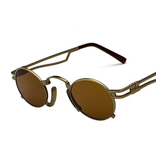 AMFG Gafas de sol punk Pequeño Marco Metal Oval Oval Sunglasses Retro Viajes Vidrios de conducción al aire libre (Color : G)
