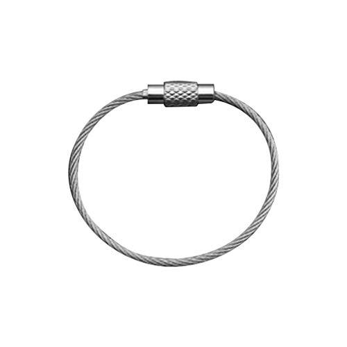 kexinda Llavero de Alambre de Acero Inoxidable Llavero portátil perdido Anti-Key Anillo de conexión, 15cm x 2mm