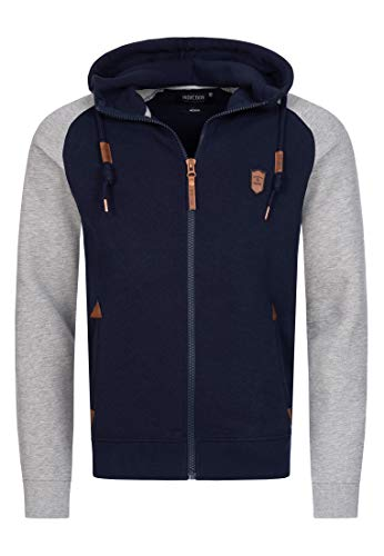 Indicode Herren Arbutus Kapuzensweatjacke | Hooded Jacket Kapuzenjacke Hoodie mit Reißverschluss Kapuzenpullover mit Zipper Sweatjacke mit Kapuze Kapuzensweatshirt für Männer Navy M