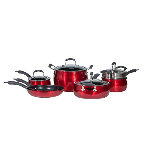 Epicurious Cookware Collection Dishwasher Safe Oven Safe Nonstick Aluminum 11 Piece Red Cookware Set