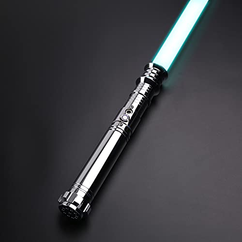 YQSABER RGB Lightsaber 12 Colors Force FX Light Saber of Metal Aluminum Hilt Lightsabers with 6 Realistic Sound Fonts Flash on Clash with 1 inch Blade-Gold (TS008)