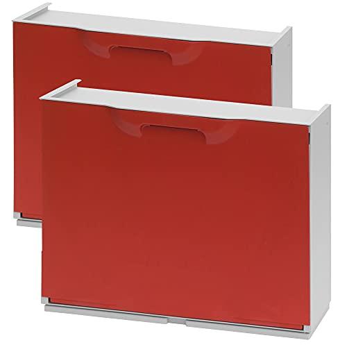 WellHome UNIKA Pack de 2 zapateros en polipropileno color rojo, 40,1x51x17,3 cms. c/u