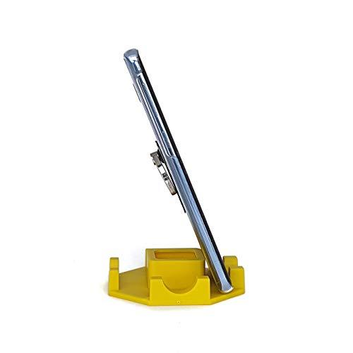 Suporte de Mesa para Celular ou Tablet serve em todos os aparelhos - Modelo Octagonal (Amarelo)
