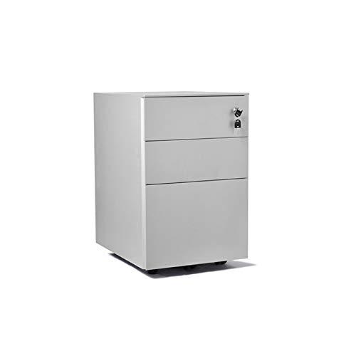 BENOHAOH Gabinete Móvil Archivador Gabinete Tres Cajones Debajo del Escritorio De Oficina con Bloqueo Mobile Pequeño Cajón De Estaño Gabinete De Almacenamiento (Color : White)
