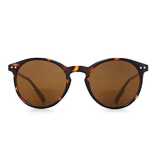 Lentes de gafas de sol bifocales JM Gafas de lectura de estilo redondo retro para mujeres Hombres Marco de tortuga Lente marrón +2.0