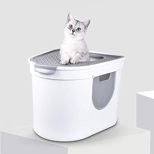 Recipiente for perros cubierto arena for gatos Bandeja, superior y abertura lateral for la limpieza rápida y fácil, Amplio interior - Ideal for muy grandes gatos, blanco AA-CAT BANDEJA higiénico LOLDF