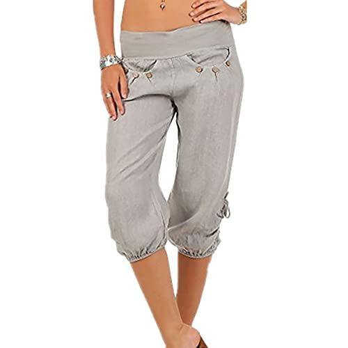 FOTBIMK Women Plus Size Calf-Length Pants Solid Button Zipper Calf-Length Trousers Gray