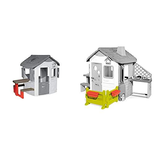 Smoby – Picknicktisch für Smoby Spielhäuser – Zubehör für Spielhaus, Sitzbank mit Tisch & Gartenzaun mit Blumenkästen – Zubehör für Kinder-Spielhaus, auch freistehend im Garten