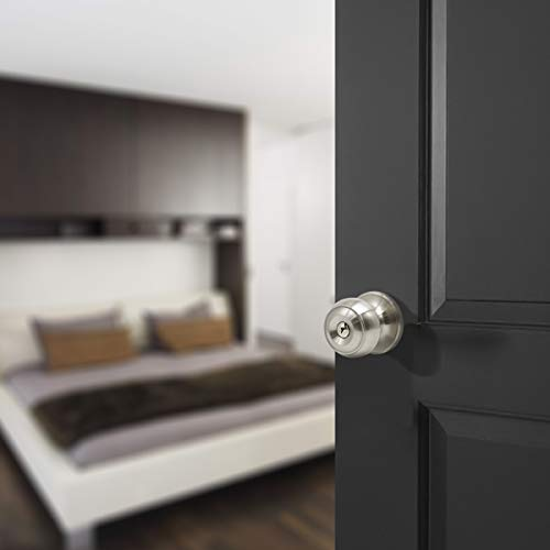 6 Pack Probrico Interior Bedroom Entrance Doorknobs Door Lock One Keyway Entry Keyed Alike Same Key Door Lock Entrance Lockset in Satin Nickel Each with 3 Keys