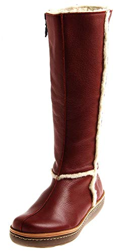 Loints 30452 Damen robuste Lederstiefel Winterstiefel Wolle Stiefel Damenstiefel Einlagen Rot EU 37