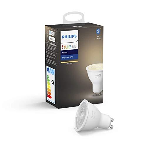 """Philips Hue White GU10 LED Lampe Einzelpack, dimmbar, warmweißes Licht, steuerbar via App, kompatibel mit Amazon Alexa (Echo, Echo Dot), Gerät """"Zertifiziert für Menschen"""""""