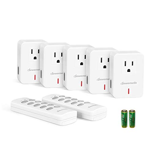 DEWENWILS Remote Control Outlet Plug Wireless On Off Power Switch, Programmable Remote Light Switch Kit, 100ft RF Range, Compact Design, ETL Listed, White (2 Remotes + 5 Outlets Set)