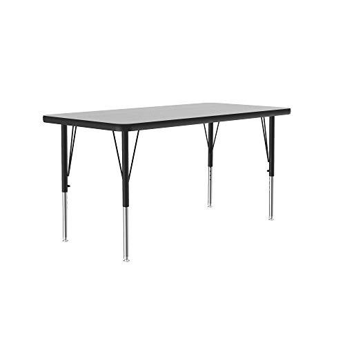 Correll Econoline Classroom Activity Table, 24'x48' Rectangular Gray Granite Melamine Top, Adjustable Height Legs, School Furniture (AM2448-REC-15)