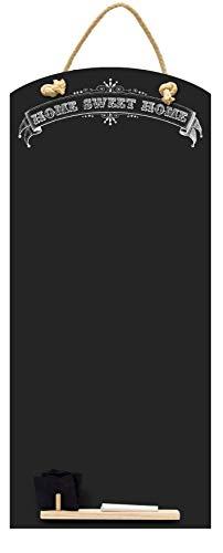 Chalkboards UK Sweet Home Tall Thin Lavagna/Lavagna/memo Board da Cucina con Corda, Vassoio e Gesso. Cabine Design Range, Legno, Nero, 60x 26.5x 1cm