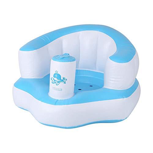 Sofá inflable para bebé, fácil de operar, hermoso, cómodo y cómodo sofá con bomba incorporado, para no dañar los huesos para el baño en casa(blue)